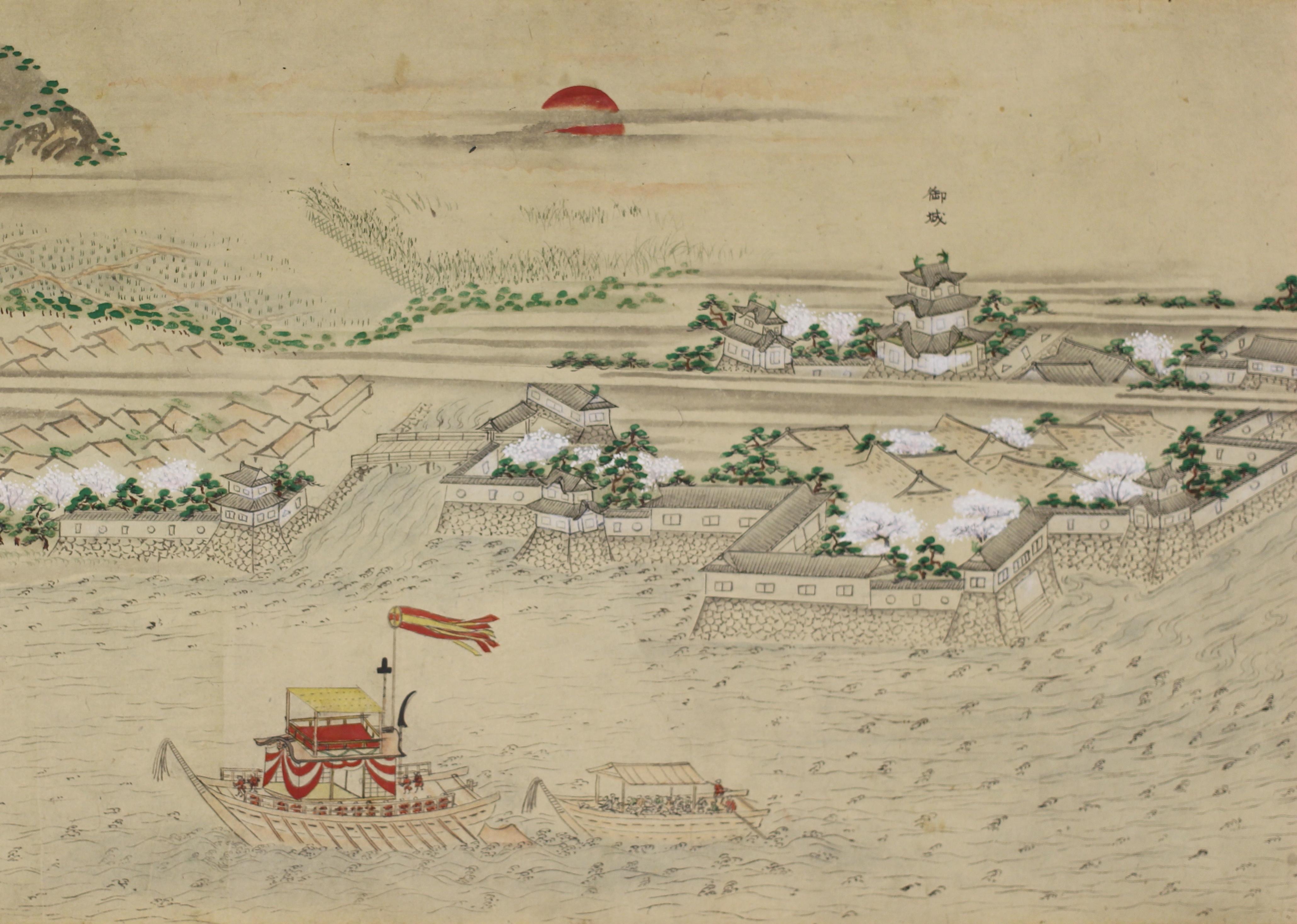 小浜城下蘇洞門景観図(小浜城部分)