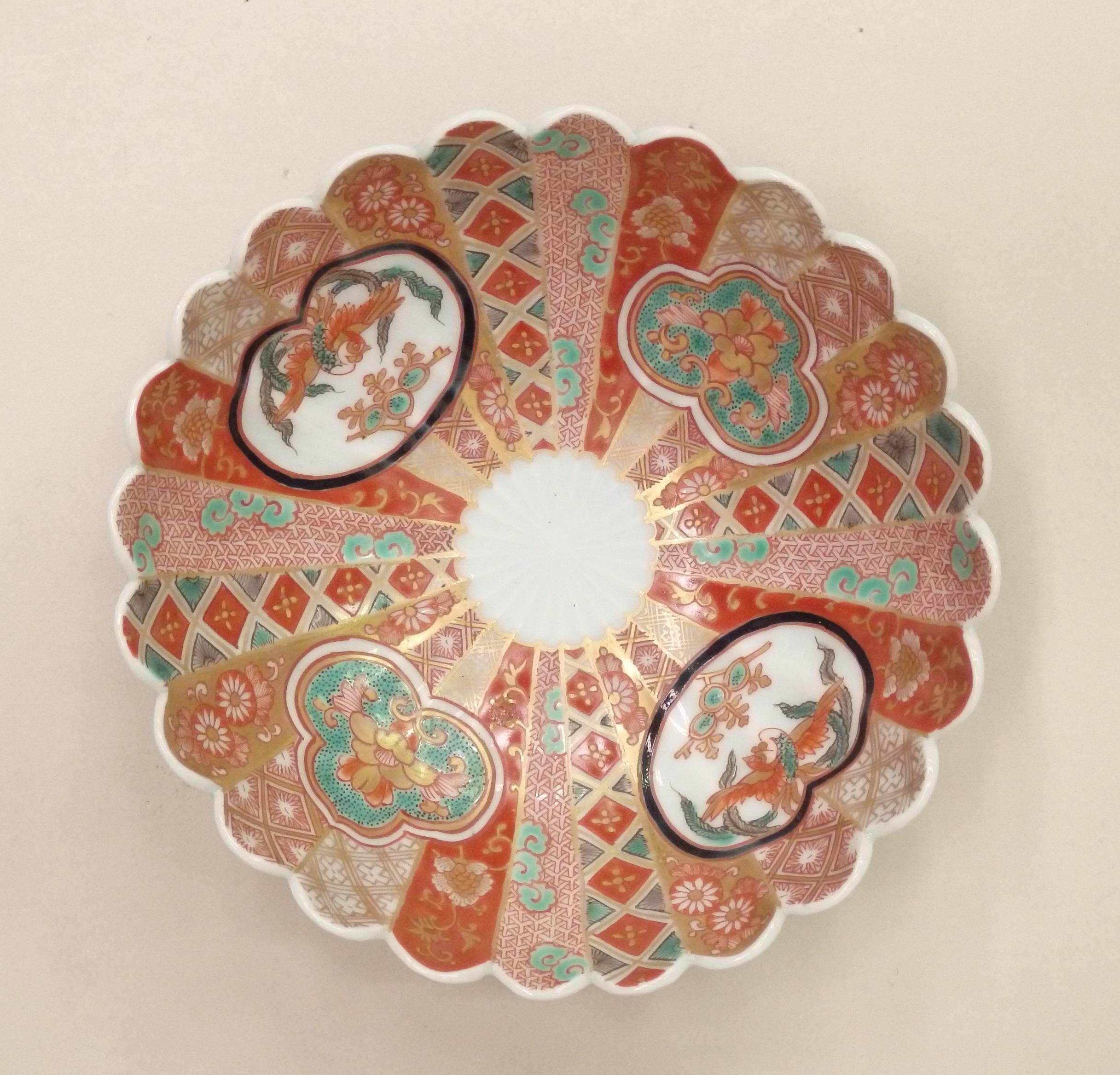 色絵 地詰鳳凰文 菊花鉢(山川登美子記念館所蔵)