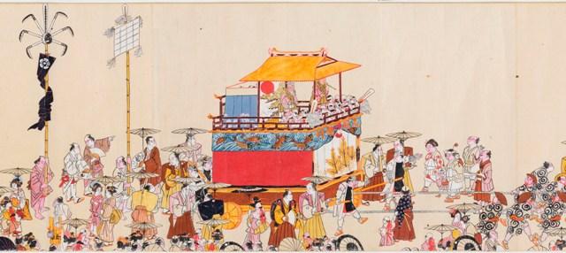 小浜祇園祭礼絵巻 小浜市指定文化財 廣嶺神社蔵江戸後期。京都祇園祭の影響を受けた鉾(ほこ)や山車(やま)が描かれています。