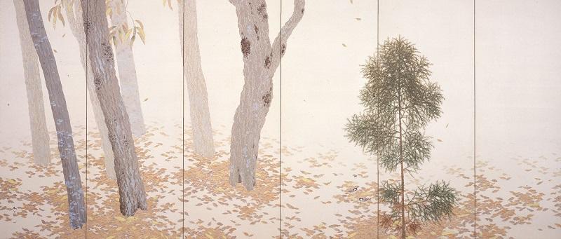 菱田春草《落葉》(左隻)