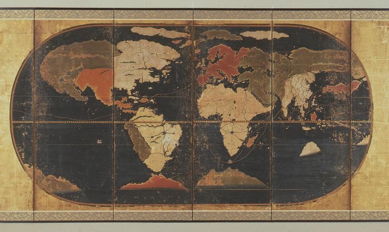 世界図(部分・当館蔵)