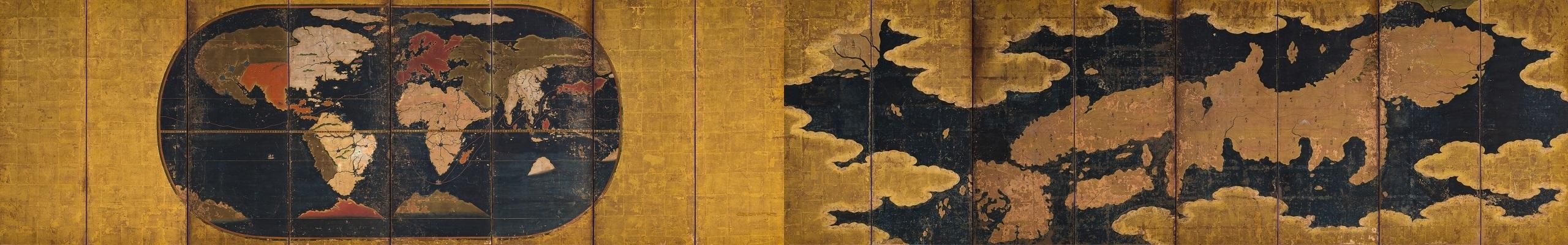 世界及日本図〈八曲屏風〉<br />(当館所蔵)
